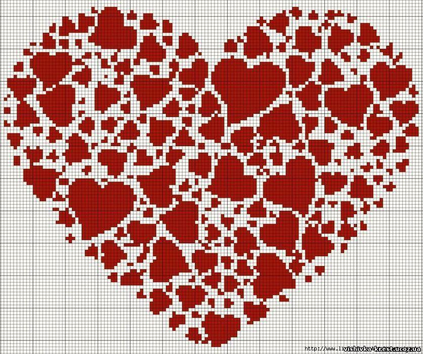 Вышивка сердце в монохроме